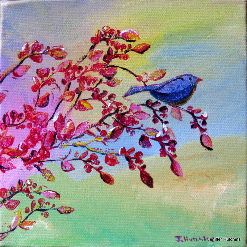 """Blue Bird"" 6""x6"" acrylic.  SOLD."
