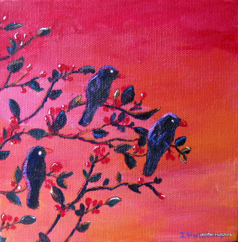 """Blackbirds"" 6""x6"" acrylic.  SOLD."